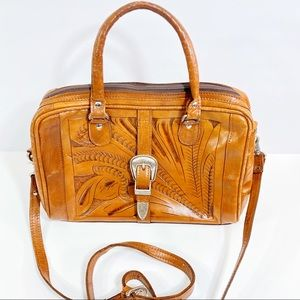Vintage Force Ten Hand Tooled Leather Bag Purse